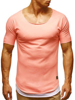 Scoop Neck Short Sleeve Slim Fit Men's Sport T-shirt