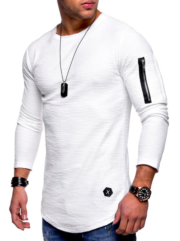 Zipper manga larga delgada simple camiseta de los hombres
