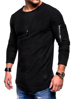 Zipper Long Sleeve Slim Simple Men's T-Shirt