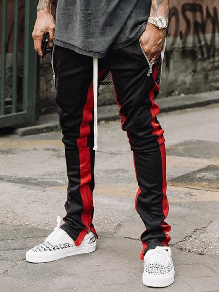 Color Block Patchwork Lace-Up Waist Men's Casual Pants