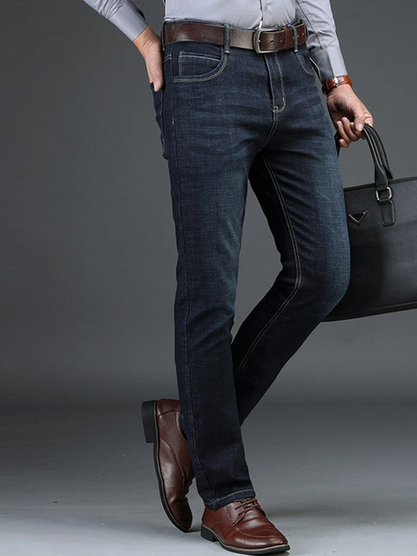 Mid-Waist Full Length Pocket Men's Straight Business Jeans