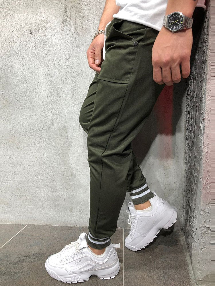 Olivgrüne, schlichte, schlanke Mens Casual Sports Pencil Pants