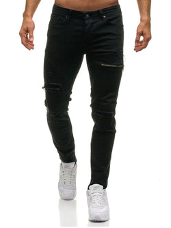 Hole Zipper Worn Slim Thin Men's Casual Jeans