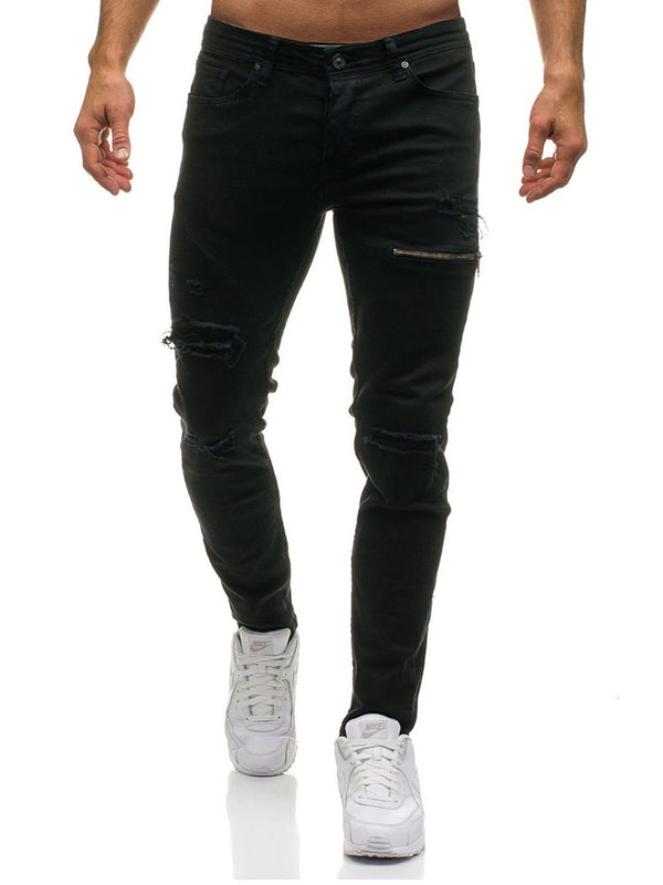 Jeans Casual pour hommes Hole Zipper Worn Slim Thin