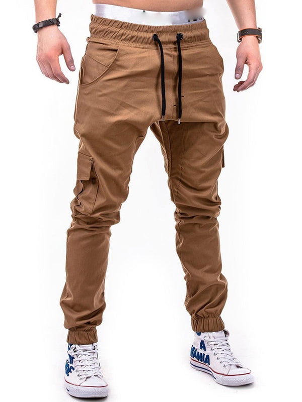 Lace-Up Mid-Waist Pocket Men's Casual Pants