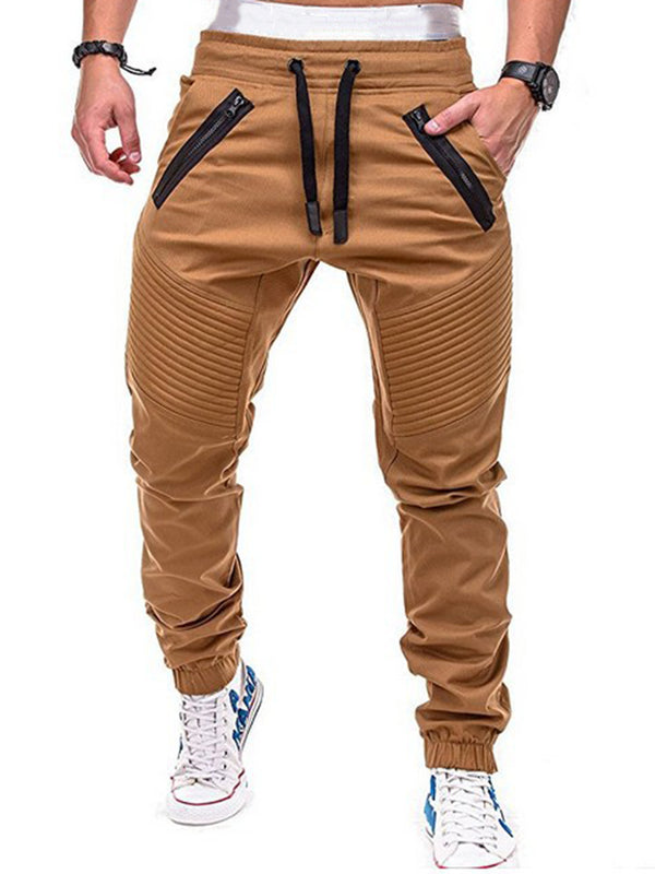Volle Länge Lace-Up High-Waist Porcket Herren Freizeithose