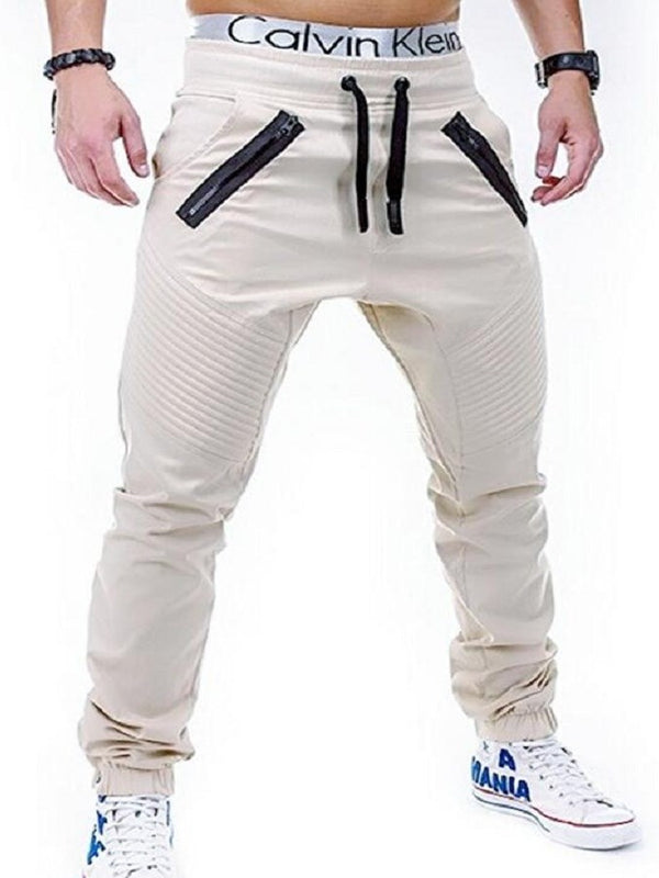 Full Length Lace-Up High-Waist Porcket Men's Casual Pants