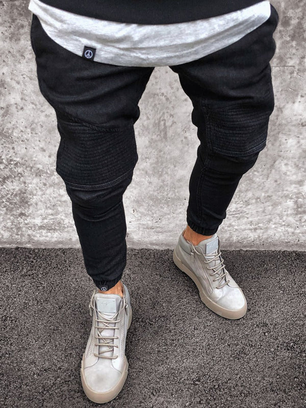 Denim Skinny Plain Pencil Pants Patchwork Pocket Men's Jeans