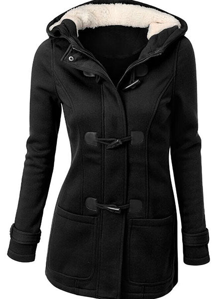 Hooded Mid-Length Plain Women's Fall Overcoat