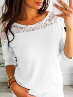 Lace Neck Long Sleeve Loose Fit Women's T-shirt