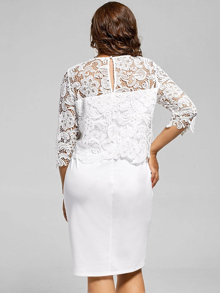Plus Size Lace Top White Women's Bodycon Dress