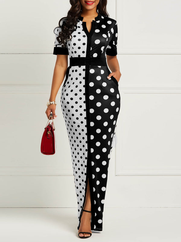 Bodycon Polka Dots Color Block Women's Dress