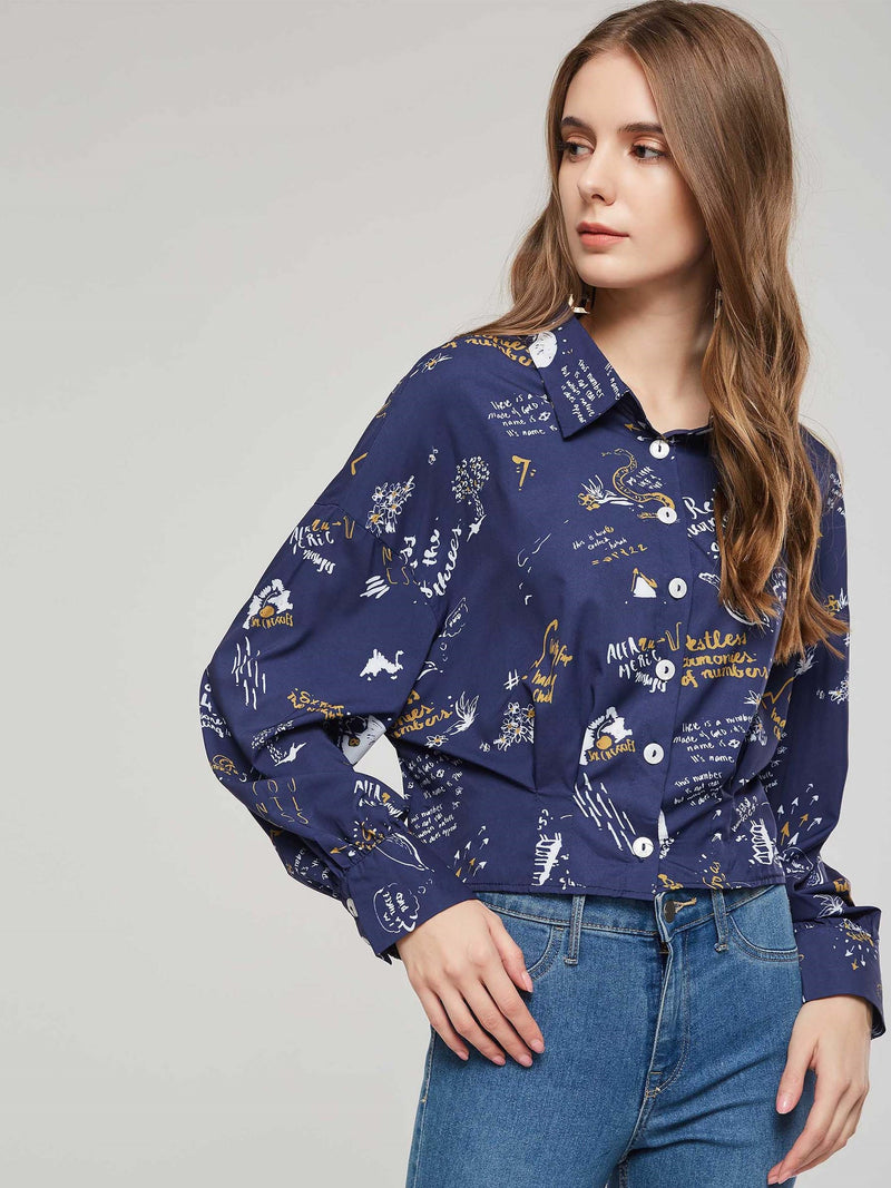 Long Sleeve Print Loose Pleated Women's Shirt