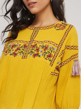 Bohemian Style Round Neck Embroidery Loose Blouse