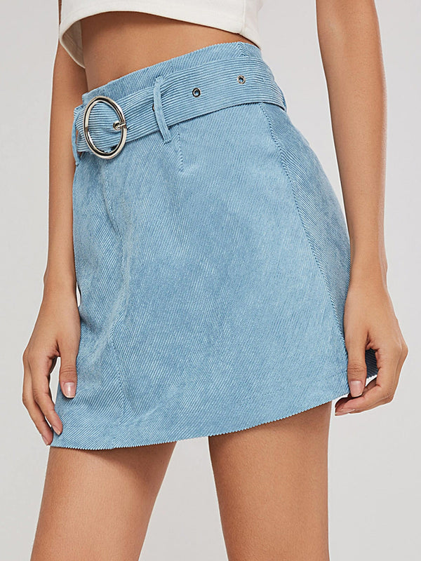 A-Line Corduroy Women's Mini Skirt with Belt