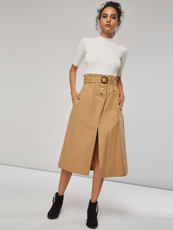 Tea Length A-Line Split Women's High-Waist Skirt