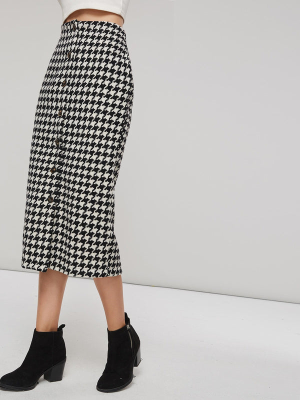 Gonna aderente invernale Fashion Mermaid Houndstooth da donna