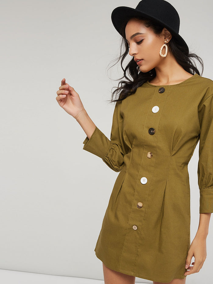 Round Neck Long Sleeve Button Straight Women's Day Dress