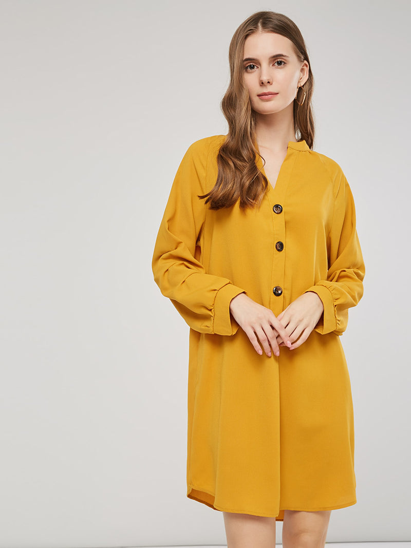 V-Neck Long Sleeve Solid Color Women Shirt Dress