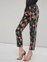 Hebedress Floral Print Side Striped Women's Casual Pants