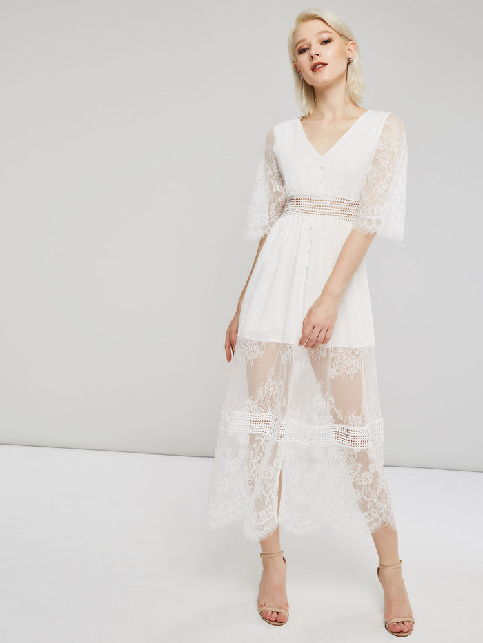 White Expansion 3/4 Length Sleeves Women's Lace Dress