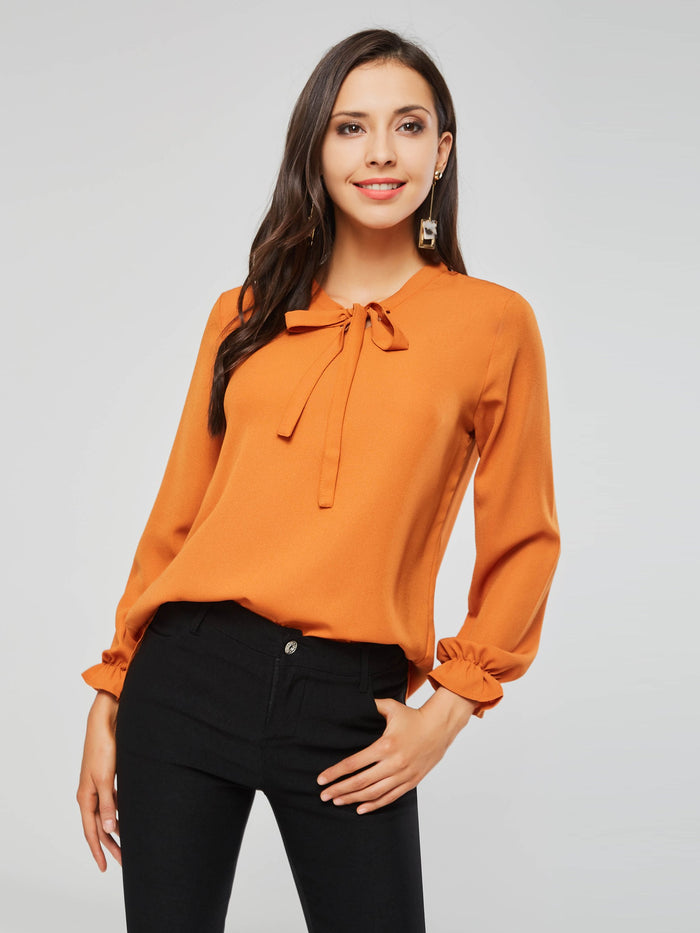Flare Sleeve Bowknot Loose Women's Blouse