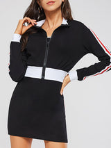 Color Block Long Sleeve Striped Women's Two Piece Set