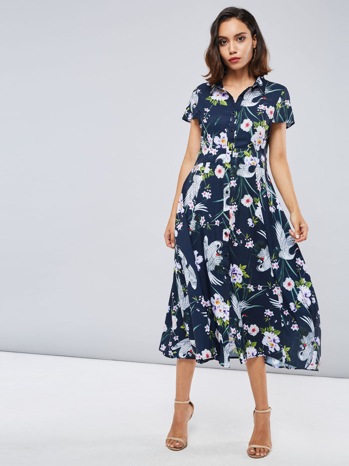 Polo Neck Cap Sleeve Floral Women's Day Dress