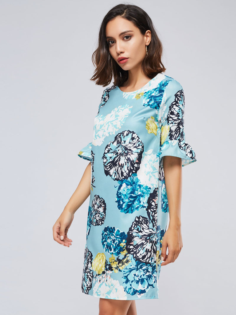 Flare Half Sleeve Prints Round Neck Straight Women's Day Dress