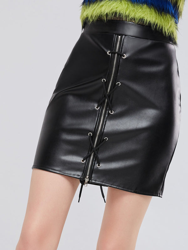 Black PU Zipper Lace-Up Bodycon Women's Mini Skirt