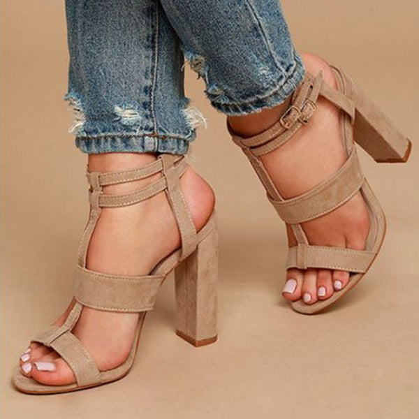 Suede Strappy 12cm Chunky Heel Sandals