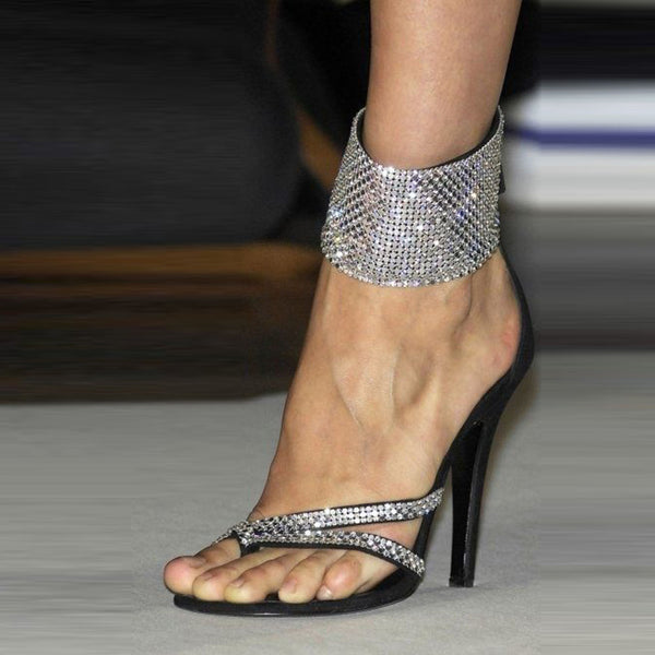 Sandali a spillo da donna con strass Toe Ring