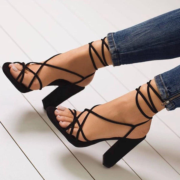 Black Suede Plain Open Toe Lace-Up Women's Heel Sandals