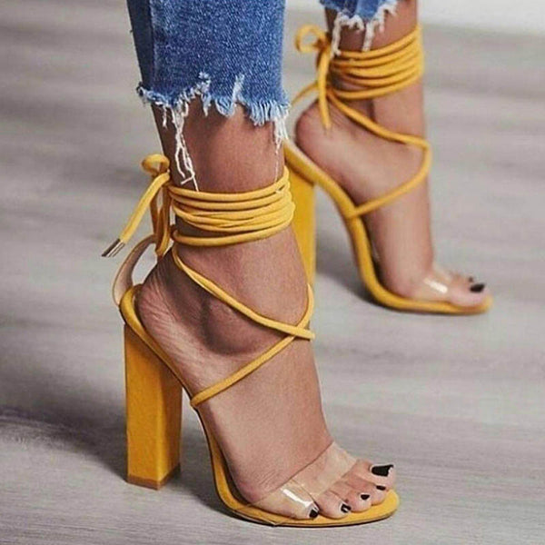 Plain Open Toe Lace-Up 11cm Chunky Heel Sandals