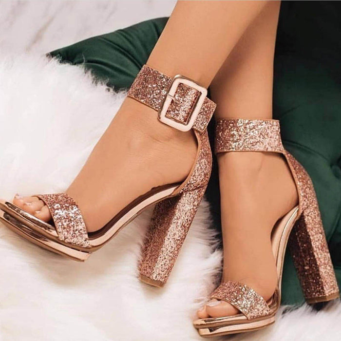 Sequin Open Toe Line-Style Buckle Platform Prom Sandals