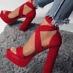 Red Lace-Up Open Toe Platform Chunky Heel Sandals