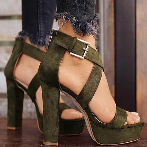 Plain Open Toe Buckle Platform 13cm Chunky Heel Sandals