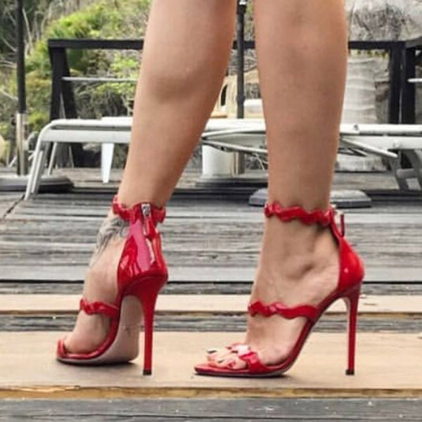 Red Open Toe Heel Covering Zipper Stiletto Heel Sandals
