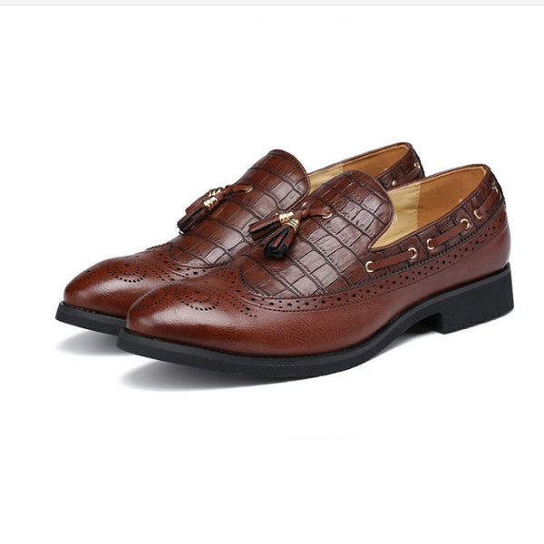 Hebedress Fringe Slip-On PU Men's Oxfords