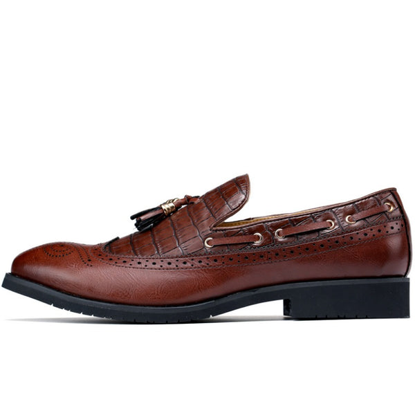 Hebedress Slip-On Professional Round Toe Fringe Men's Oxford