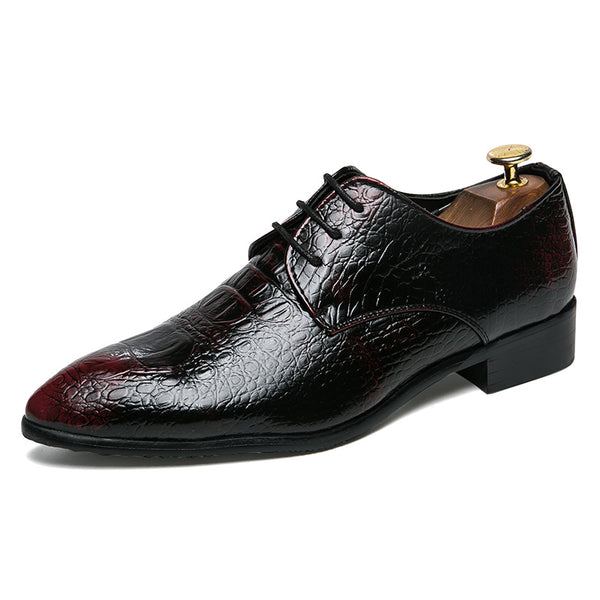 Pointed Toe Lace-Up Crocodile Pattern Men's Oxfords