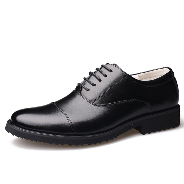 Men's Black Round Toe Lace-Up Shoes For Evening