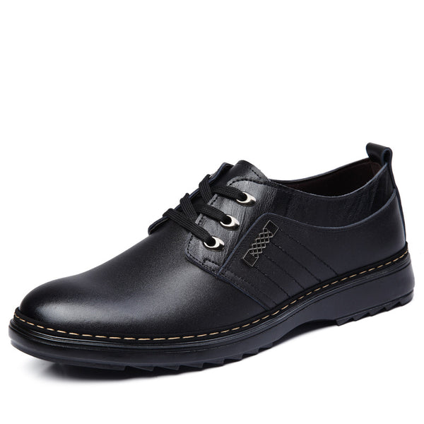 Black Pu Round Toe Low-Cut Upper Men's  Oxfords
