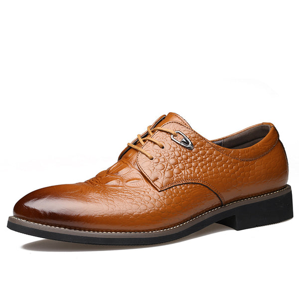 Comfortable Crocodile Pattern Brush Off Men's Oxfords