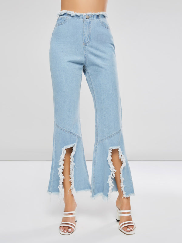 Hole Destroyed Bellbottom Women's Jeans