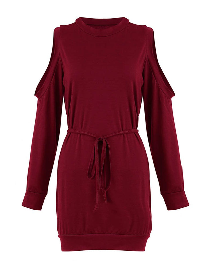 Off-The-Shoulder Long Sleeve Straight Women's Casual Dress with Belt