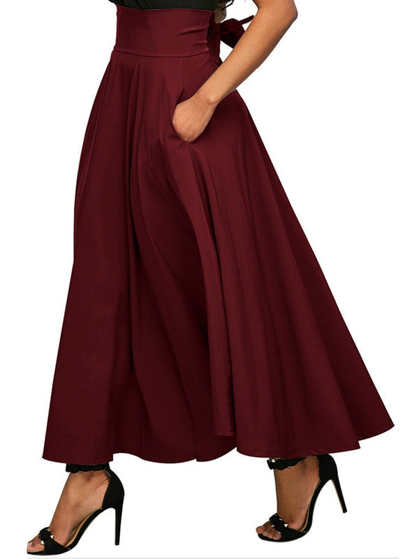 Retro Style Pure Color Split Skirt