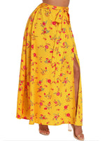 Fashion Floral Print Split Women'S Maxi Skirt
