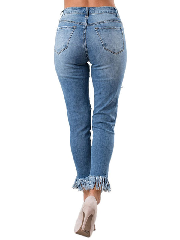 Fashionable Hole High Elastic Jeans