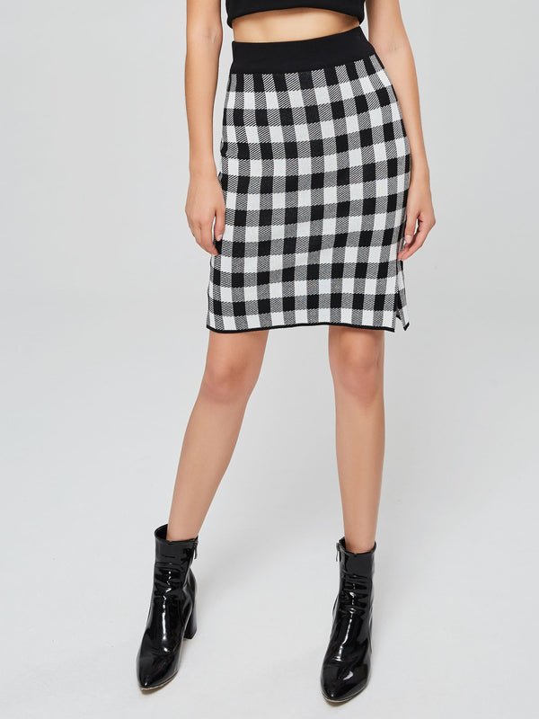 Gonna donna aderente in vita elasticizzata con stampa gingham